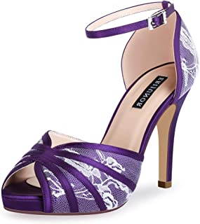 Women's High Heel Sandals Lace Satin Ankle Strap Evening Party Prom Wedding Shoes