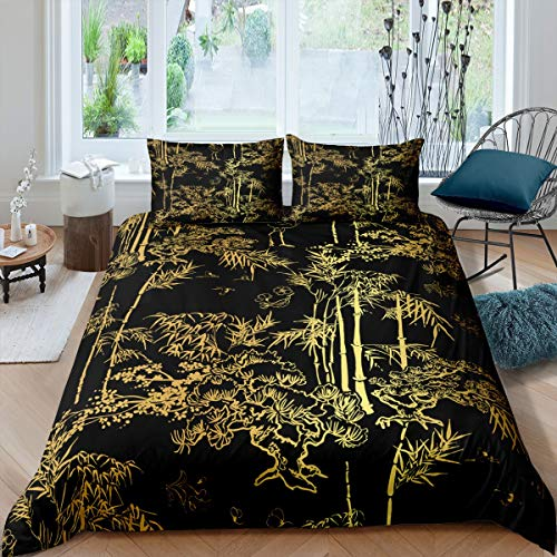 Loussiesd Luxury Black Gold Bedding Bamboo Comforter Cover for Man Woman...