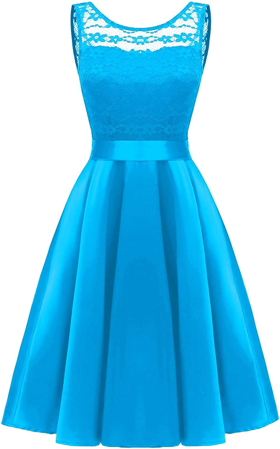 Bess Bridal Women's Lace V Back Short Prom Homecoming Party Dress with Ribbon