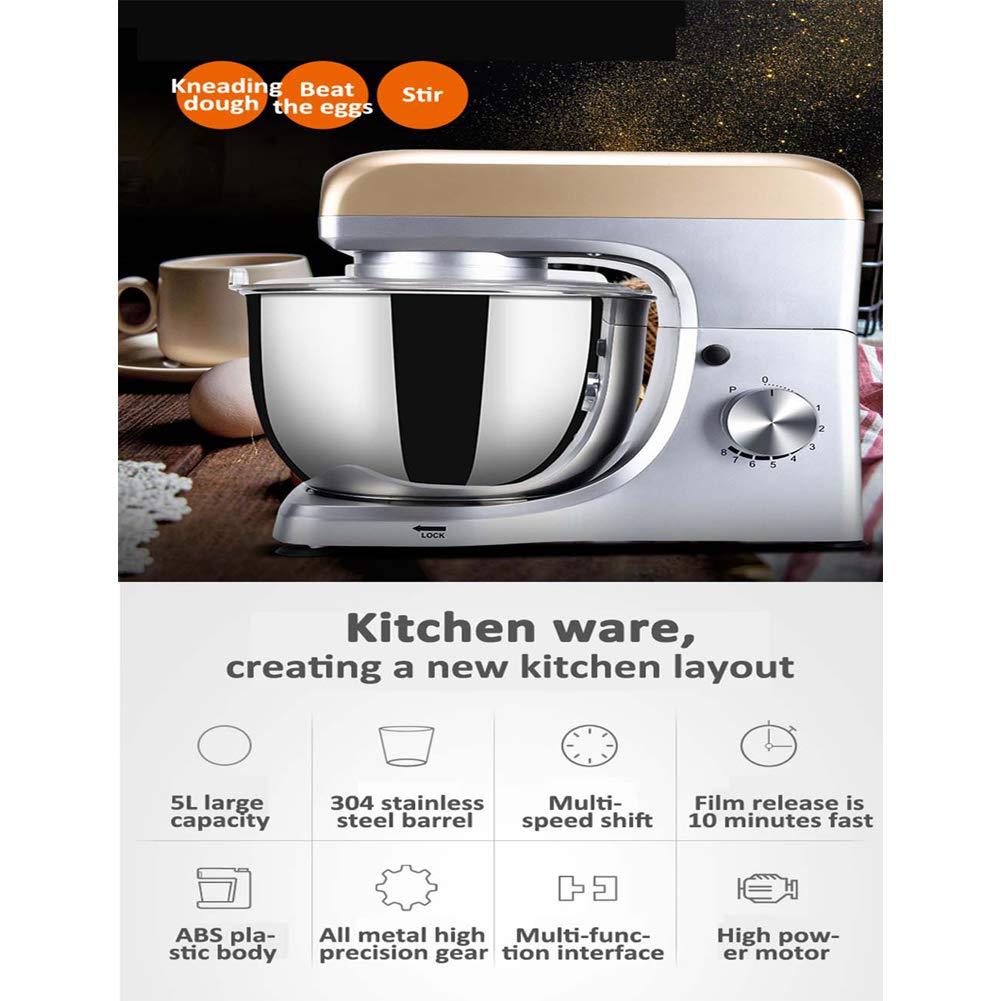 WADSYS 1500W Profesional Batidora Amasadora, Amasadora De Bajo Ruido para ReposteríA, Robot De Cocina AutomáTica Multifuncional, Robot Multifuncional, 7 litros, 6Velocidades: Amazon.es
