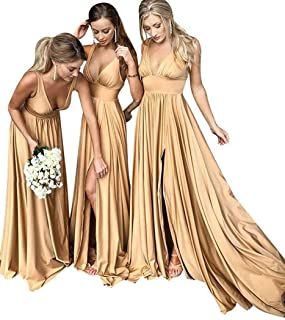 a46b46eb5f7f0 Bridesmaid Dress Long V Neck Backless Split Prom Dress Evening Gowns for  Women 2019