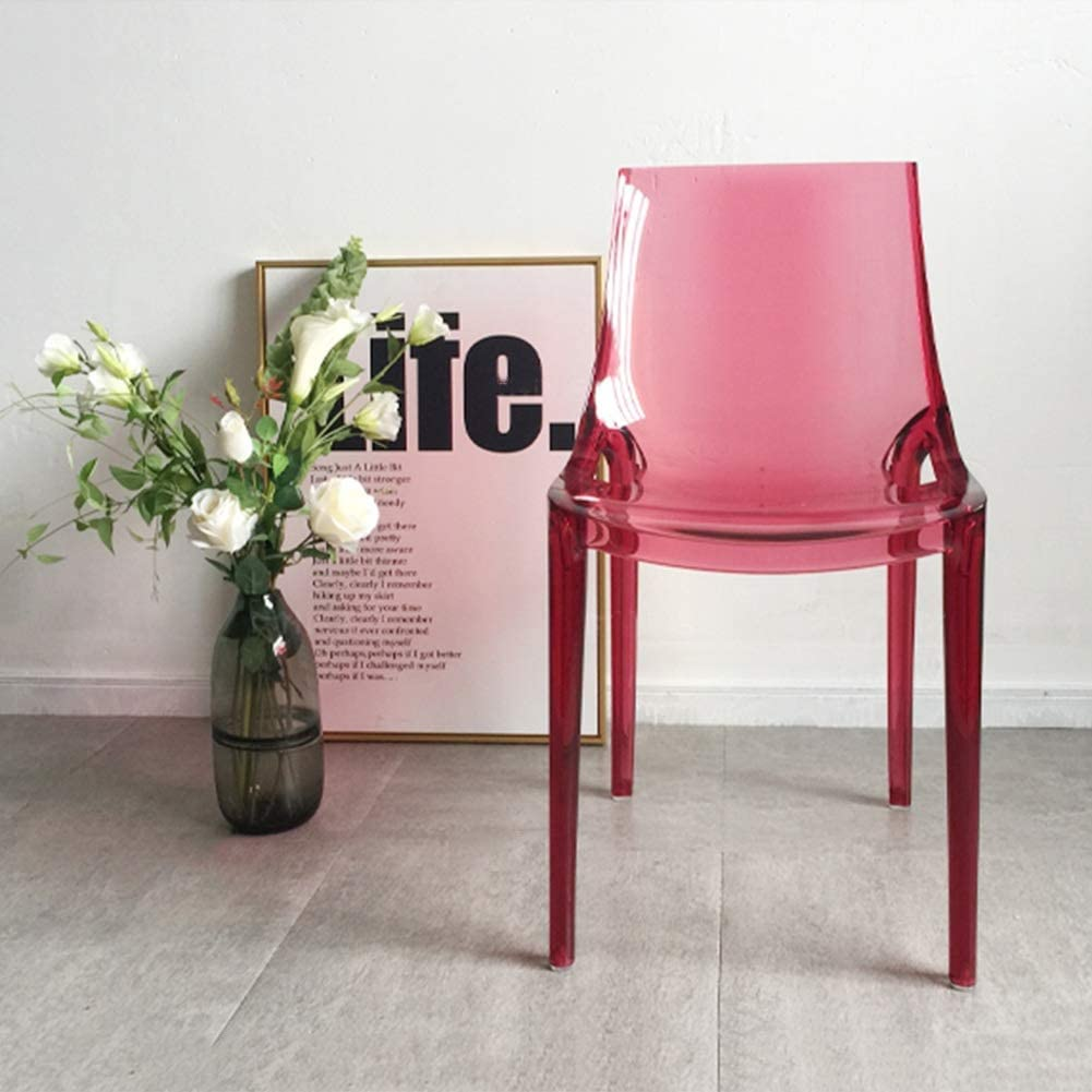 HURONG168 Chaises de Cuisine Chaise Transparente de Loisirs Nordique Chaise de café Chaise de Salle à Manger Chaise de Balcon siège Lounge (Couleur : Bleu) Rouge