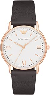 Emporio Armani Men's Kappa Stainless Steel Analog-Quartz Watch with Leather Calfskin Strap