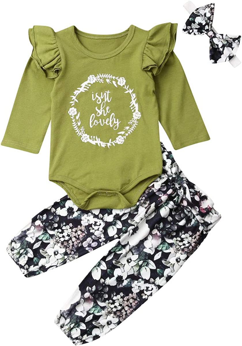 Newborn Baby Girl Ruffle Clothes Long Sleeve Solid Romper Knited Tops + Floral Pant with Headband Fall Winter Outfits Set