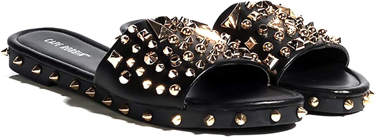 Cape Robbin Tonie Black The Ultimate Edgy Slides Flat Sandal Gold Studded Mule