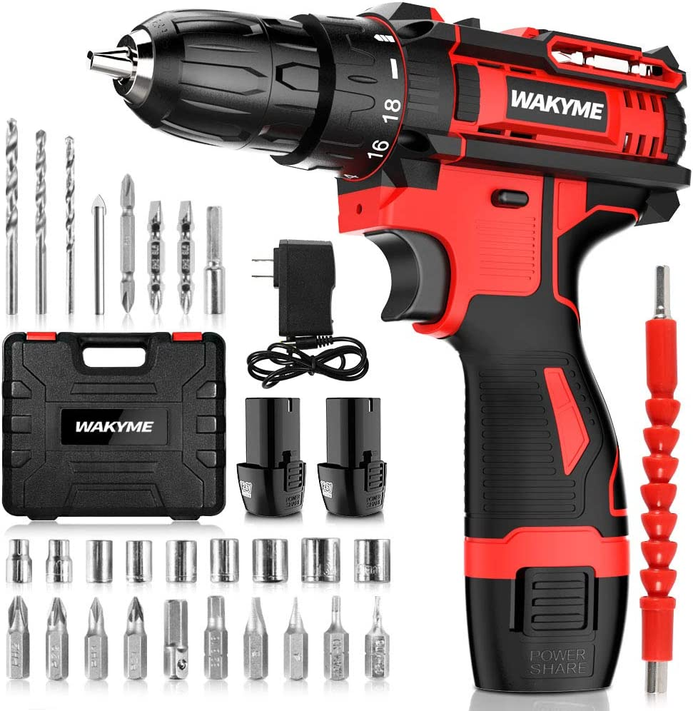 Cordless Drill Driver Kit with 2 WAKYME Luxury D Batteries Power overseas 12.6V