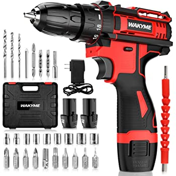 "Cordless Drill Driver Kit with 2 Batteries, WAKYME 12.6V Power Drill 30Nm 18+3 Clutch, 3/8"" Keyless Chuck, Variable Speed & Built-in LED Electric Screw Driver for Drilling Wall, Bricks, Wood, Metal"