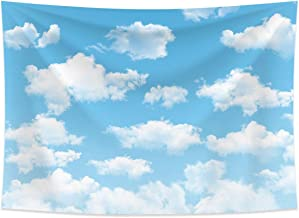 Allenjoy 7x5ft Fabric Blue Sky White Cloud Backdrop for Newborn Spring Portrait Photography Pictures Kids Children World Travel Aviator Birthday Party Decor Welcome Baby Shower Photo Shoot Background