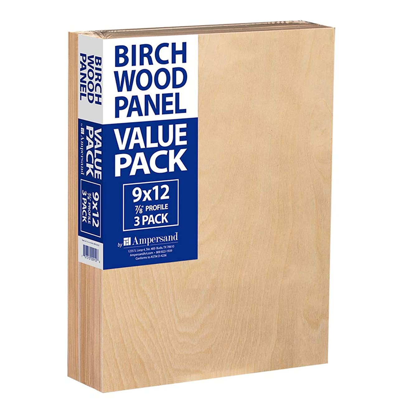 Ampersand Birch Wood Panel Value Pack, 7/8 inch Thickness, 9x12 inch Panels, 3-Pack (BMP8750912)