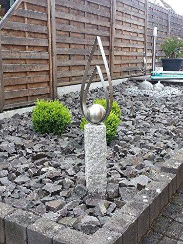 Edelstahl Granitsteinsäule Palisade Kerze ca.100cm mit 120mm Kugel Garten Deko