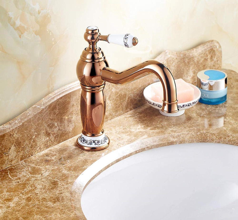CZOOR Goldener Hahn heies und kaltes Wasser Europisches Badezimmer über Gegenbassin blauem und weiem Porzellan-Einzellochantike, die drehenden Hahn A708 erhht