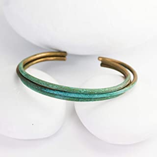 Blue Patina Aged Cuff, Women's S, Handmade Bronze Cuff with Turquoise Patina