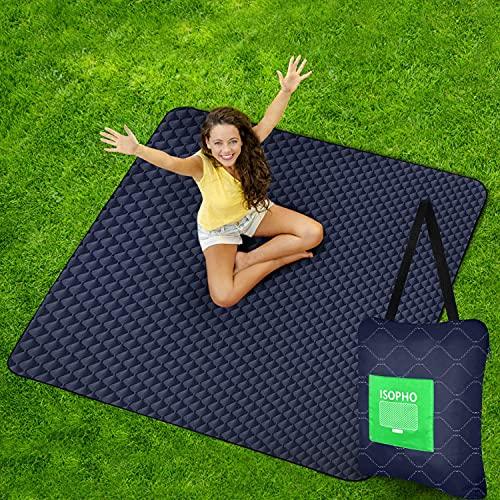 ISOPHO Picknickdecke Extra große wasserdichte Campingdecke mit Umhängetasche Bequeme sanddichte Picknickdecke 200 * 170cm Packbare Picknickdecke für Camping Wandern Gras Reisen