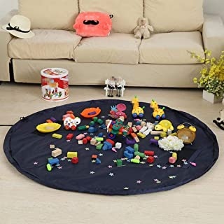 Toy Storage Bag, 55 inch Toy Organizer Bag and Kids Floor Activity Mat, Multi Purpose Play Mat, Quick Toy Storage Bag Draw...