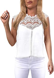 Women Lace Solid Sleeveless Hollow Blouse Tops Shirt