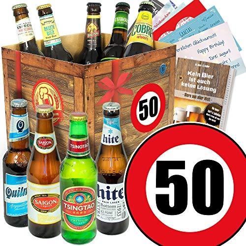 Geburtstagsgeschenk 50 Mann - Bierset - Bierbox aus aller Welt