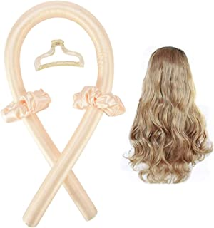 Heatless Curling Rod Headband,Silk Heatless Curl Ribbon,Lazy Sleeping Curly Hair Curlers Set Make Hair Soft and Shiny (yel...