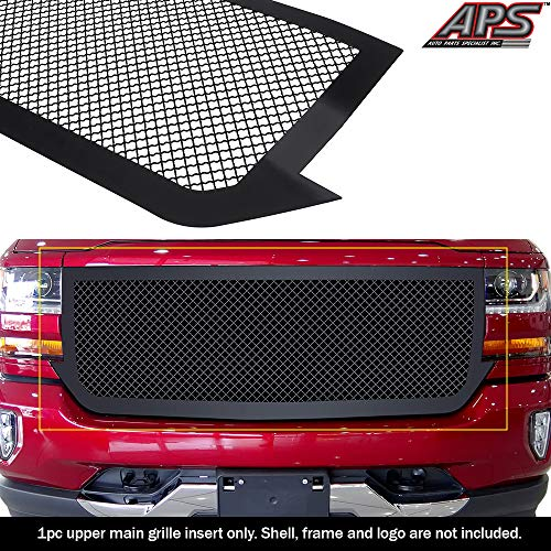 APS Compatible with 2016-2018 Chevy Silverado 1500 & 19 Silverado 1500 LD Main Upper Stainless Steel Black Mesh Grille Insert C76375K