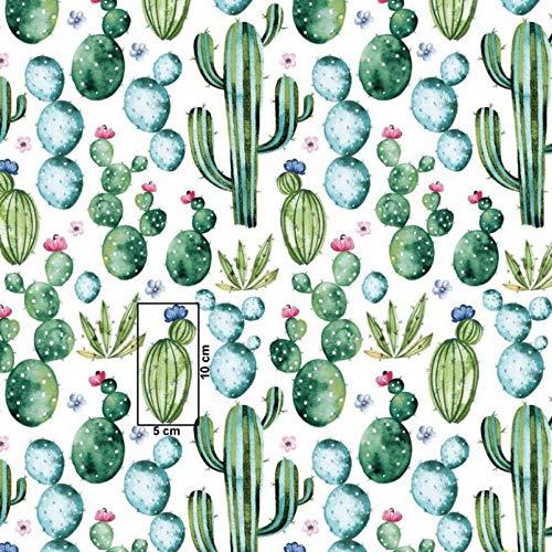 Tela de algodón 100% para niños, tejido por metros, tela para costura, artesanía, 100 x 160 cm, 1 metro (cactus verdes con flores)