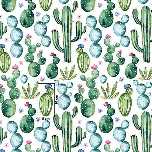 Pingianer 7,98€/m Blume Kaktus 100{5f57ea82b2358c7ee3eab1c31be5f4899d3430be9d25bdfed78280d21c6ee733} Baumwolle 50x160cm Baumwollstoff Meterware Handwerken Nähen Stoff (Kaktus Dunkelgrün)
