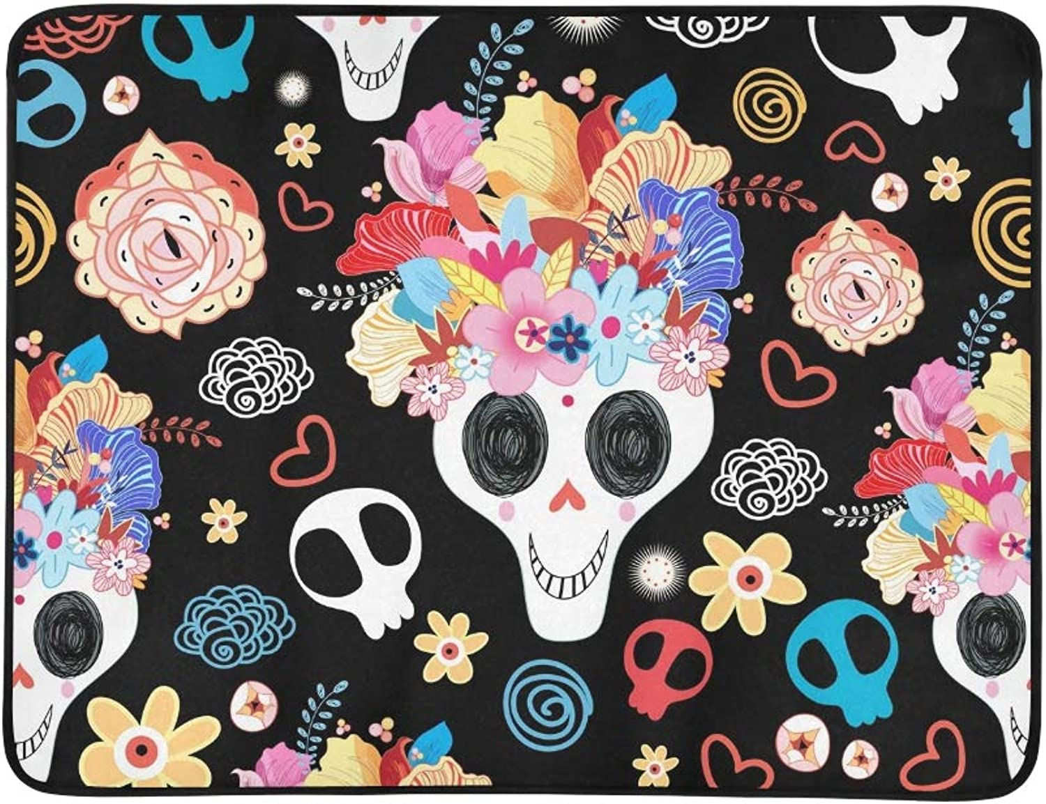 Skulls Beautiful Portable and Foldable Blanket Mat 60x78 Inch Handy Mat for Camping Picnic Beach Indoor Outdoor Travel