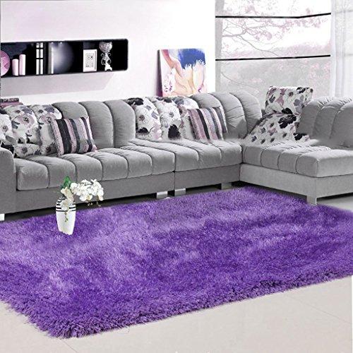 Unbekannt MMM 6 cm Dicke Stretch Seidenteppich Wohnzimmer Couchtisch Decke Schlafzimmer Nachttischdecke Europäischen Einfache Moderne (Farbe : Lila, größe : 120 * 170cm)