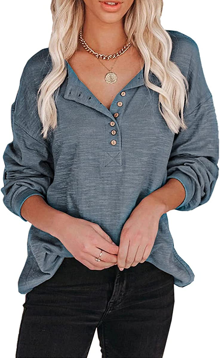 QANSI Womens Plus Size Solid color Pullover Sweatshirt Buttoned Lantern Sleeves Long Sleeve Loose Tunic Shirts Tops