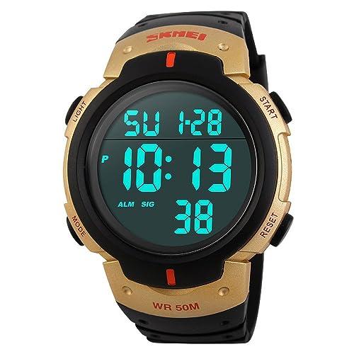 SunJas Reloj Digital de Pulsera Resistente al Agua Reloj Cronógrafo Temporizador Despertador Fecha Calendario Reloj Deportivo