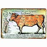 PotteLove Butcher's Guide Cut Boeuf Vintage Metal Signs Tin Plaques Wall Poster for Kitchen Garage Man Cave Beer Cafee Bar Pub Club Home Decor
