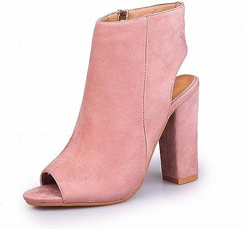ZHRUI Hochhackige Fischmaulstiefel Größe Schuhe Stiefel (Farbe   Light Light Light -Rosa, Größe   37)  60% Rabatt