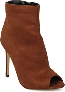 Women Faux Suede Peep Toe Stiletto Ankle Bootie HG11