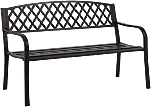"FDW 50"" Patio Garden Bench Park Yard Outdoor Furniture Steel Frame Porch Chair, Black"