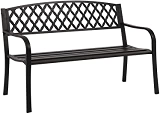 Park Bench Metal Bench 50 Garden Bench Chair Outdoor Benches Clearance Patio Bench Yard Bench Porch Work Entryway Steel Fr...