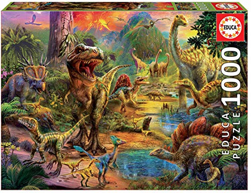 Educa - Tierra de Dinosaurios Puzzle, 1000 Piezas, Multicolo