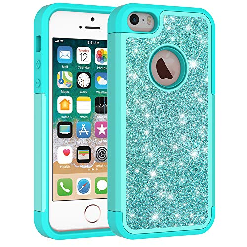 iPhone 5s Case, iPhone SE Case, Cute Girls Women Design Defender Case Bling Glitter Sparkle Hard Shell Armor Hybrid Shockproof Rubber Bumper Cover for Apple iPhone 5/5S and iPhone SE - Mint Green