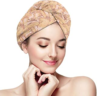 DemarLOO Microfiber Dry Hair Cap For Bath Spa Soft Towel,Super Absorbent Quick Drying Towel Wrap,Turbans For Wet Hair- Tiger_lily_sketch