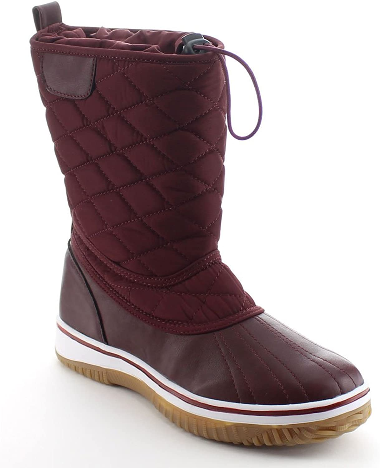 Da Viccino Refresh Snow-01 Women's Lace Up Waterproof Quilted Mid Calf Winter Snow Boots,Burgundy,6.5