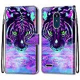 i-Case Carcasa LG K8 2018 LG K9 Flip Cover, Patrón PU Piel Funda,Cubierta de Ranuras para Tarjetas,Caja de Soporte con Cierre Magnético Caso teléfono para LG K8 2018 LG K9 Tigre Purpurina púrpura