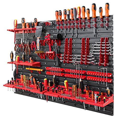 Werkzeugwand 115x78 cm - Set 58 Werkzeughaltern mit Lochwand Werkstattregal Kunststoff Garage Werkstatt Wandregal Werkstattregal