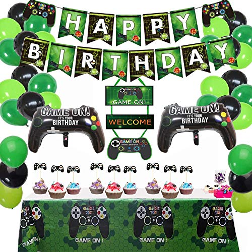 45PCS Upgrade Video Game Theme Birthday Party Decorations Happy Birthday Banner Balloons Tablecloth Cake Toppers For Birthday Party Boys Party Family Party Supplies