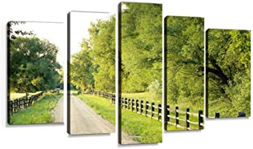 Country road with big green trees and fences at either side Modern Art Painting set Digital Print Picture on Canvas Framed Artwork Wall Decor Living Room Office Bedroom 5 Pieces