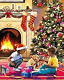 Pintura por número dibujo de Navidad en lienzo imágenes de bricolaje pintura por número niño pintado a mano decoración del hogar regalo A2 40x50cm