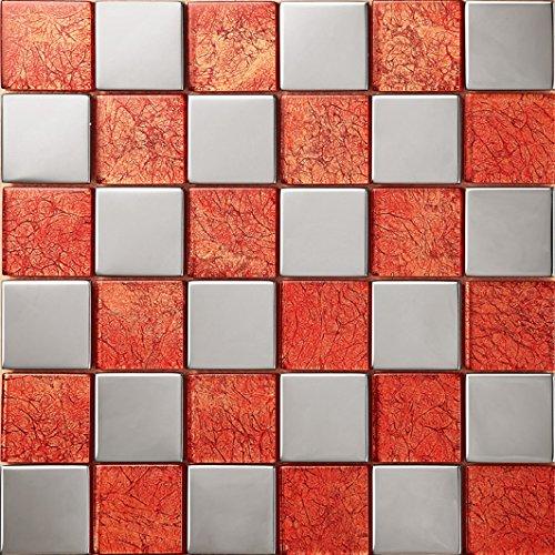 Stile moderno mosaico quadrato Vetro e acciaio inox mosaico mattonelle arte della parete 300*300mm--Cucina Backsplash/Parete da bagno/decorazione domestica(SA007-18/19)