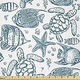 Lunarable Under The Sea Stoff von Yard, Handgezeichnete