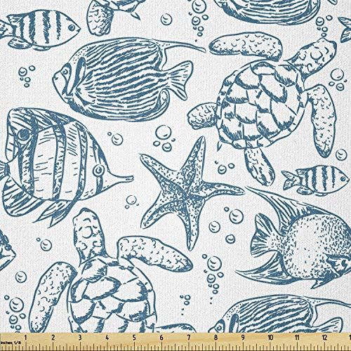 Lunarable Under The Sea Fabric by The Yard, Hand Drawn Sketch Art Style Fauna of The Sea Turtle Starfish and Fishes, Stretch Knit Fabric for Clothing Sewing and Arts Crafts, 2 Yards, White Blue