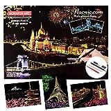 Nacnic Set di 3 Fogli di Carta con Sfondo colorato Arcobaleno da grattare. Scratchboard Serie Città (Torre Eiffel Mulini Olanda Monte Fuji). Regalo Creativo, Fai da Te per Adulti e Bambini.