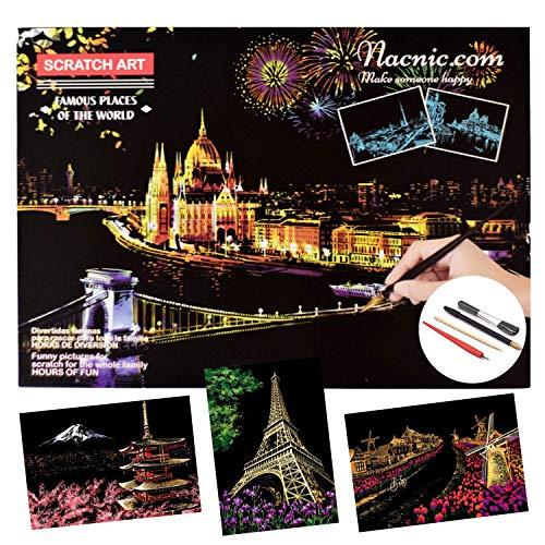 Dibujos para rascar. Torre Eiffel Molinos Holanda Monte Fuji. Láminas con fondo colorido para rascar. Scratch Painting. Manualidad rascar Serie ciudades.Hojas de rascar. Sets de 3 hojas de 40.5*28.5cm