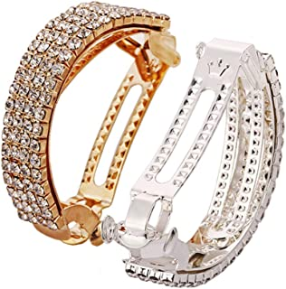 2Pcs Fashion Elegant Rhinestone Hair Clip Ponytail Holder Sparkly Semicircle Metal Spring Hair Clips Barrette Accessories for Women Lady Girl Teen Hair Jewelry,Silver and Gold
