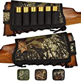 BRONZEDOG Camo Buttstock Cheek Rest Ammo Holder for Shotgun 12 16 Gauge Adjustable Shell Holder Hunting Carrier Right Handed (Black Oak Camo)