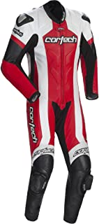 Cortech Adrenaline Men's 1-Piece Leather Sports Bike Racing Motorcycle Race Suit - White/Red / Large